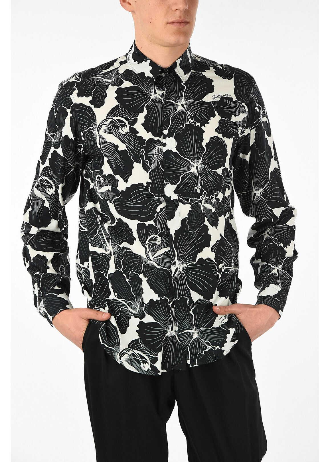 Just Cavalli Floral Printed Shirt BLACK & WHITE