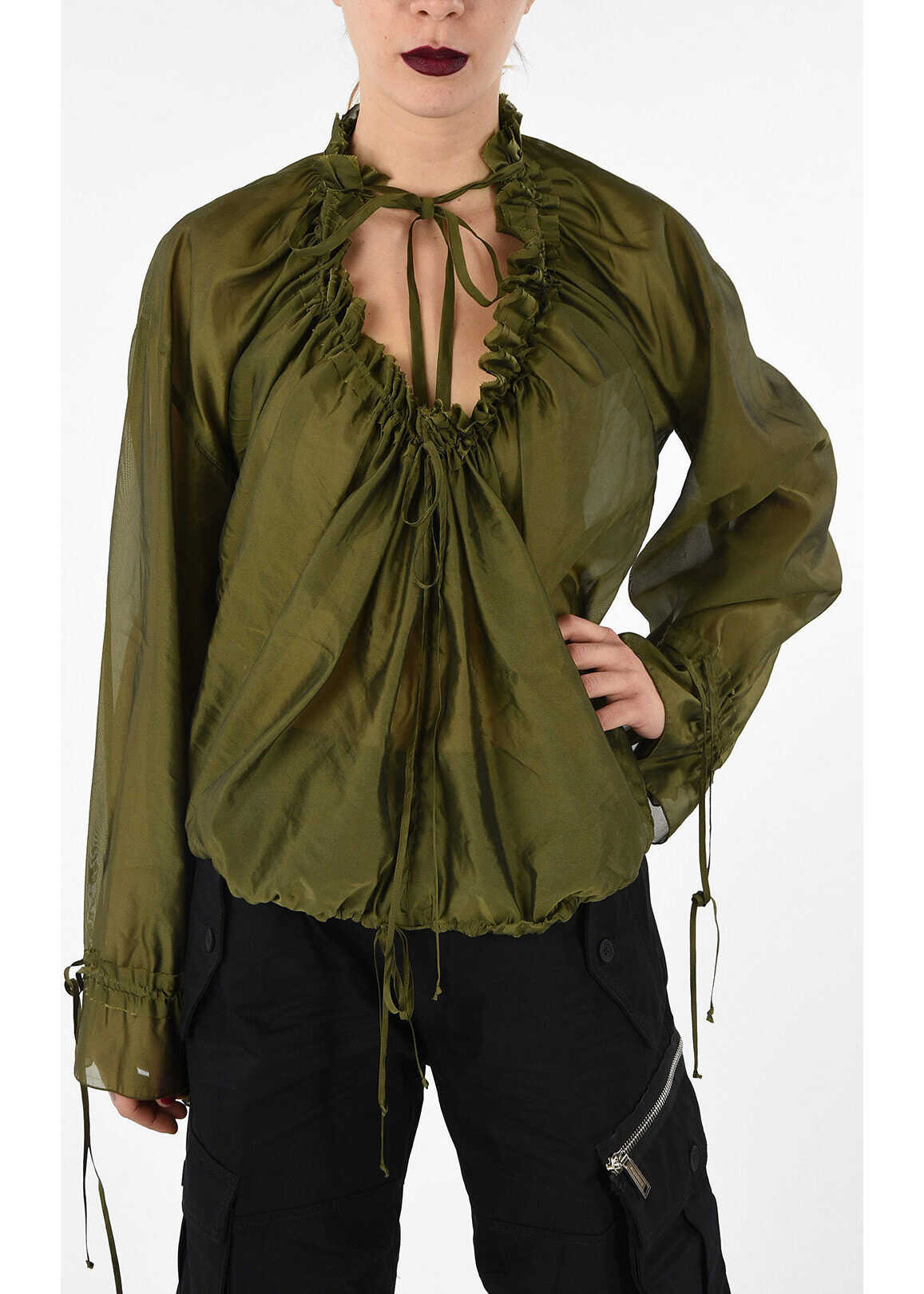 Deep Plunge Ruffle Blouse