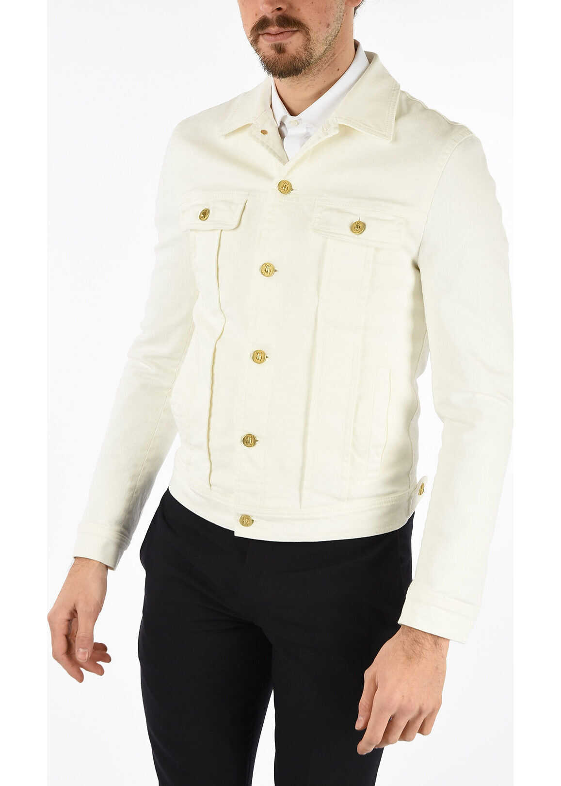 CORNELIANI CC COLLECTION denim stretch KANE jacket WHITE imagine