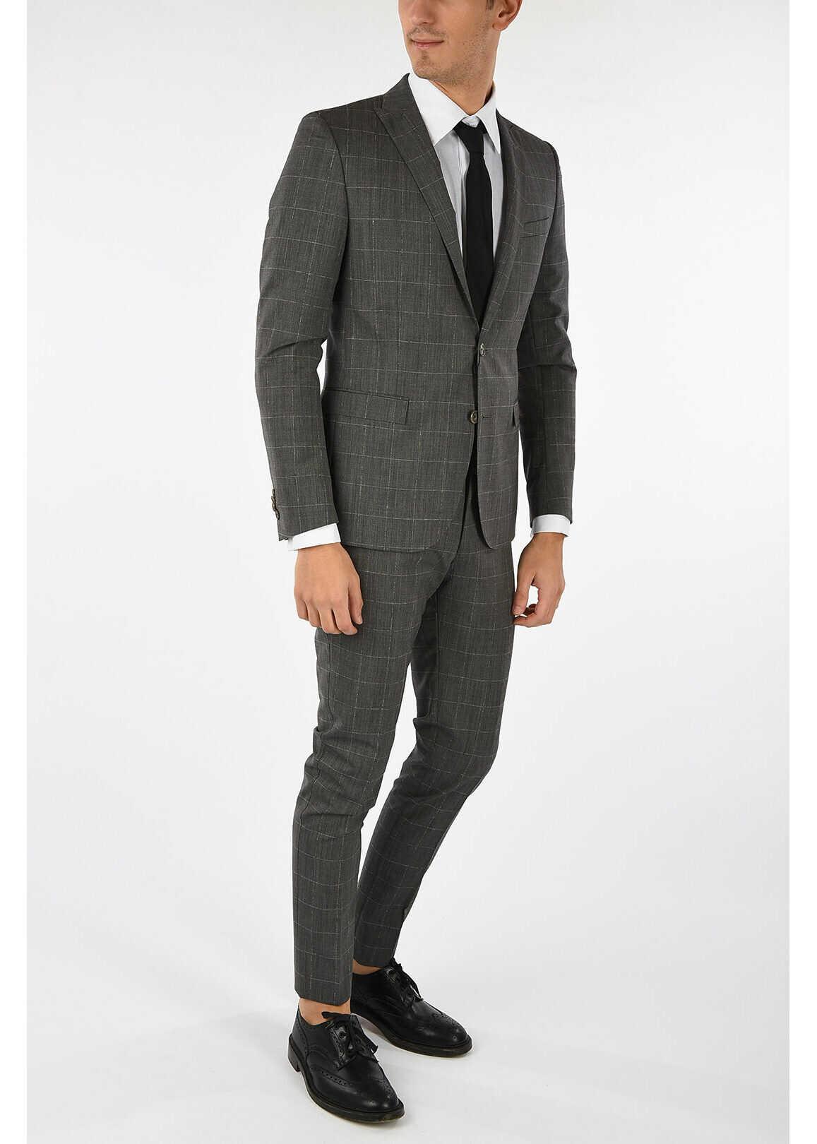 CORNELIANI CC COLLECTION check RESET virgin wool drop 8 r 2-button suit GRAY imagine
