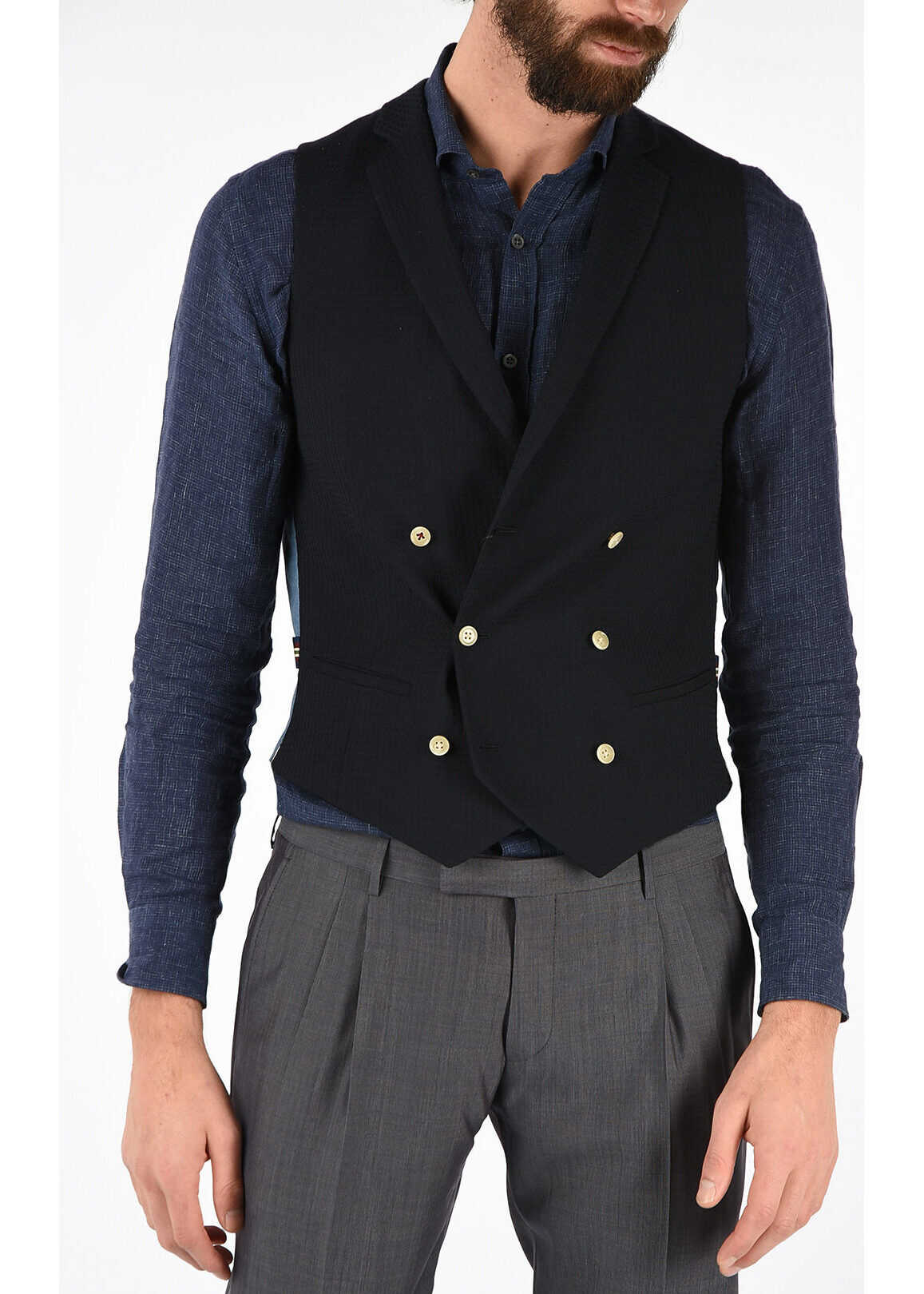 CORNELIANI CC COLLECTION Double-breasted REWARD Gilet BLUE