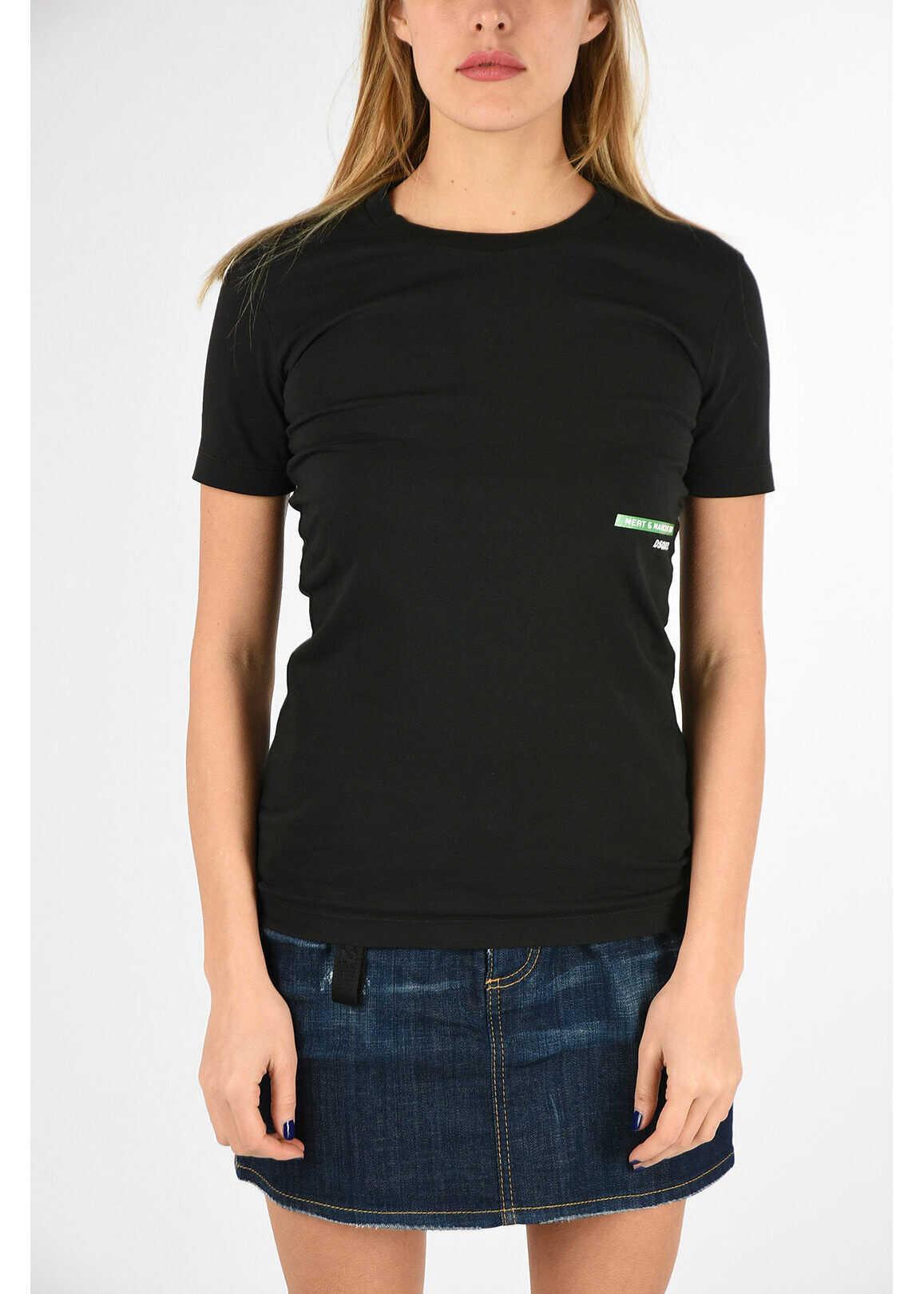 DSQUARED2 MERT&MARCUS Printed Crewneck T-shirt BLACK