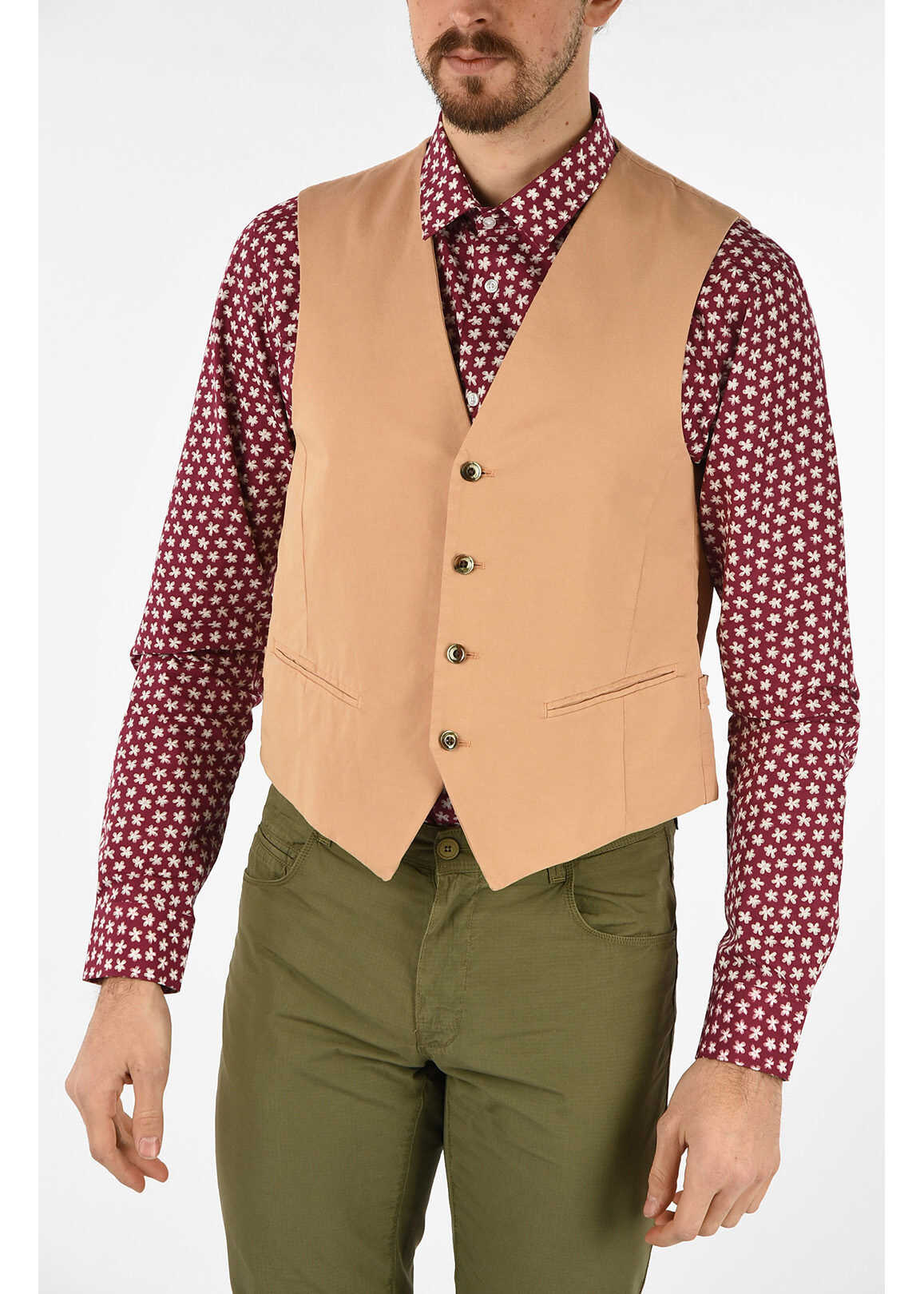 CORNELIANI CC COLLECTION single breasted drop 8r gilet BEIGE