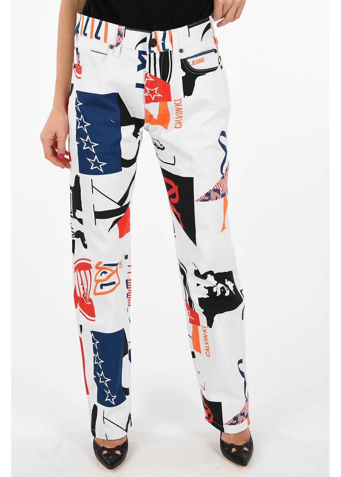 Calvin Klein JEANS EST.1978 croquis-print straight fit jeans MULTICOLOR