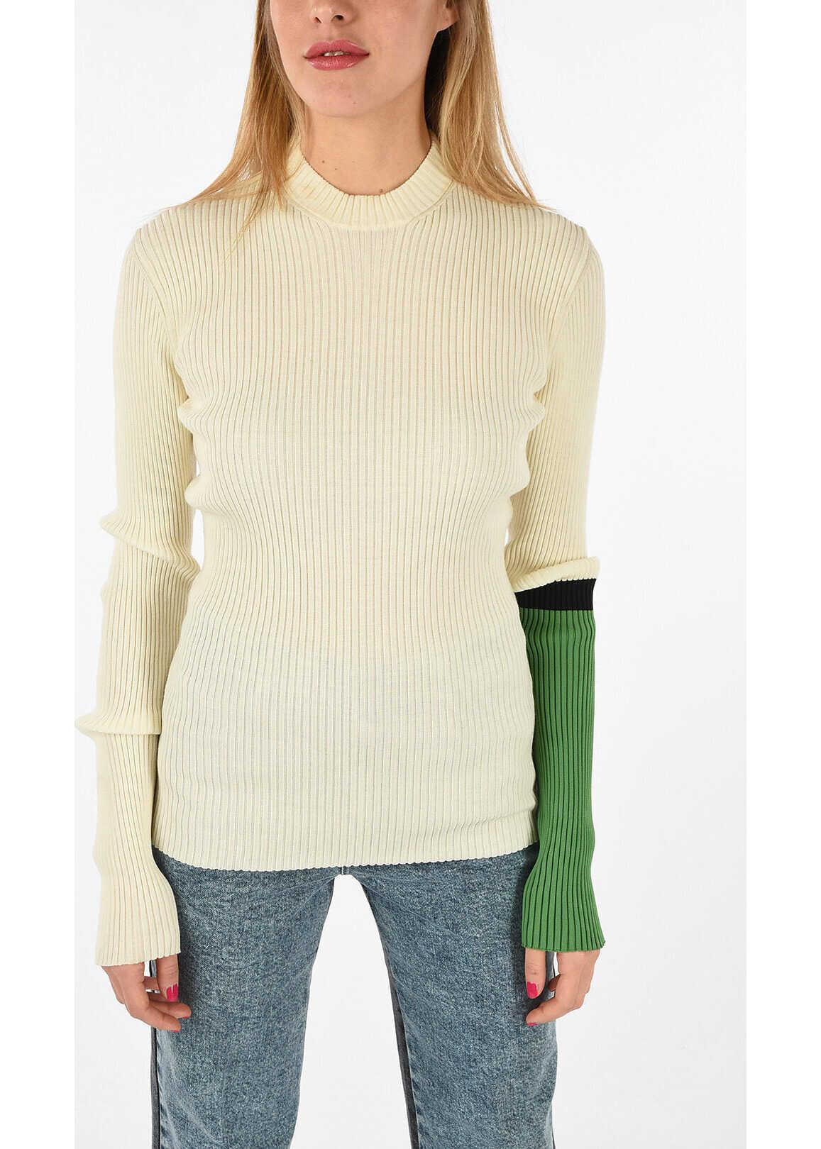 Calvin Klein 205W39NYC ribbed crew-neck sweater WHITE