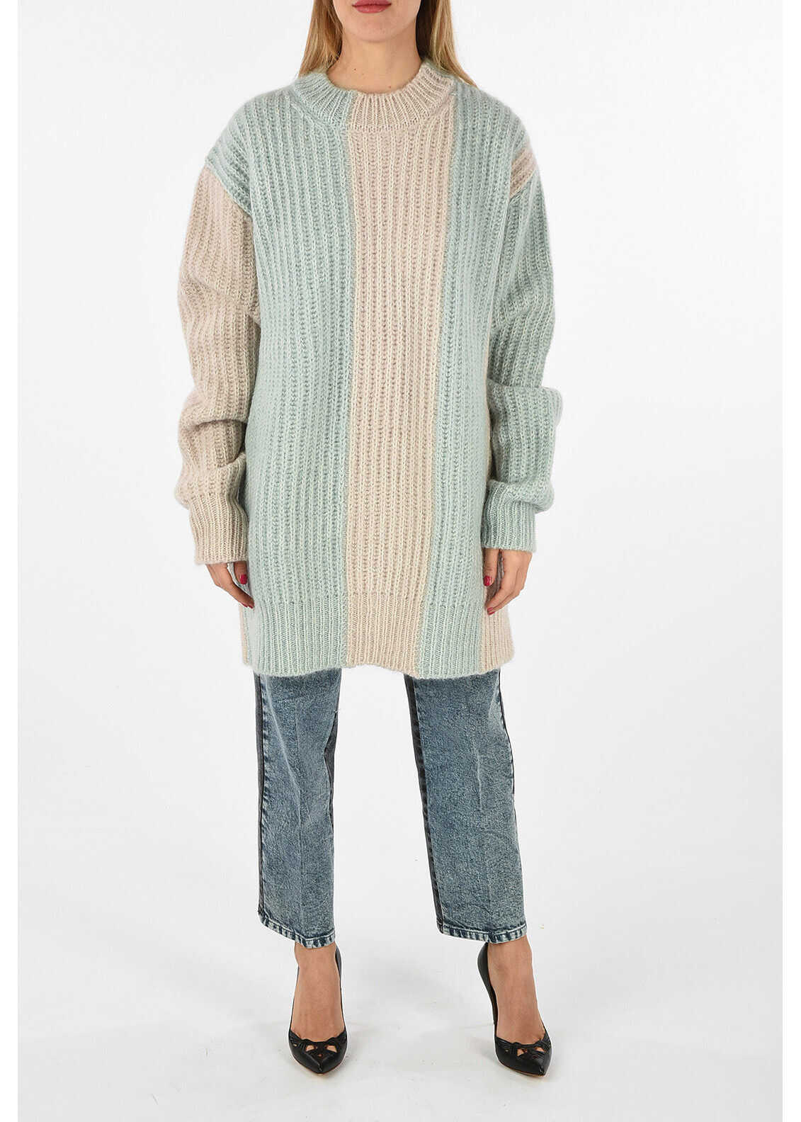 Calvin Klein 205W39NYC awning striped mohair and wool oversized crew-neck MULTICOLOR