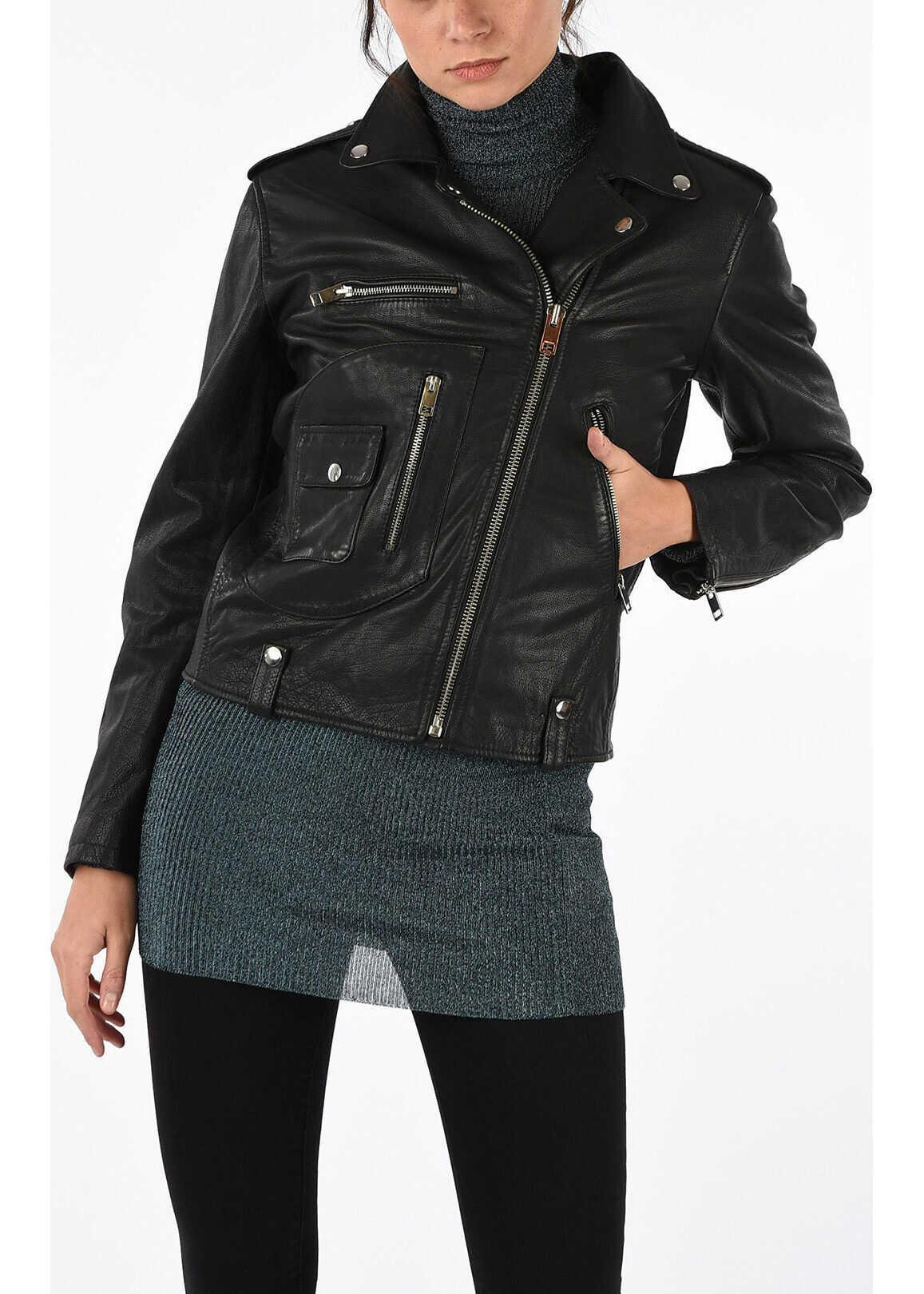 Diesel Leather L-MORGAN Jacket BLACK