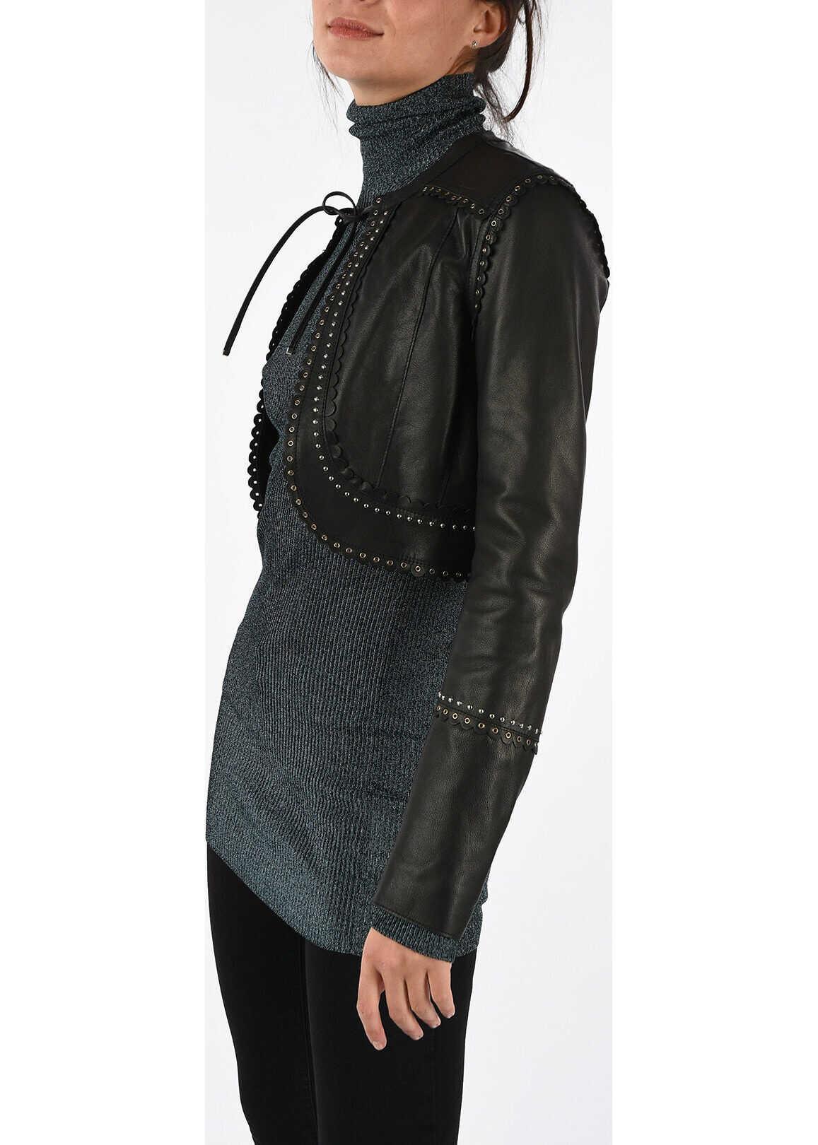 Diesel BLACK GOLD Leather LOOKET Jacket BLACK