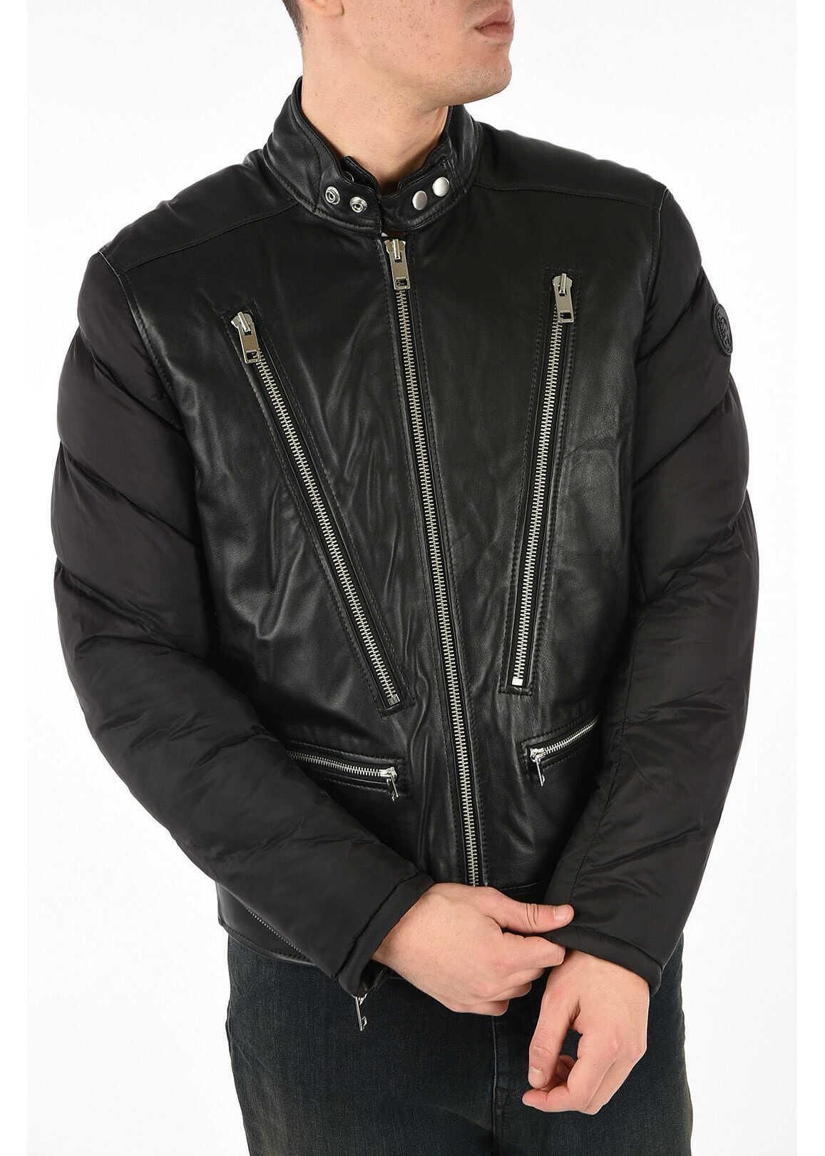 Diesel Leather and Nylon L-WINTER Jacket BLACK imagine