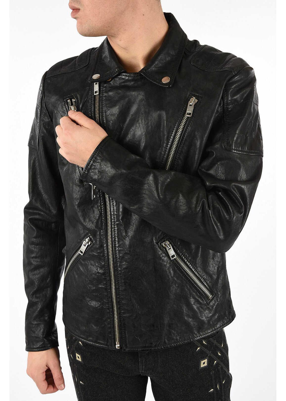 Diesel Leather R-PUSMIR Jacket BLACK imagine