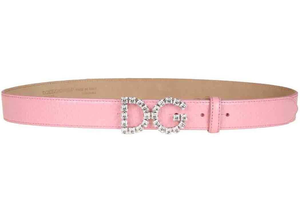 Dolce & Gabbana Dg Crystal Logo Belt In Pink Pink