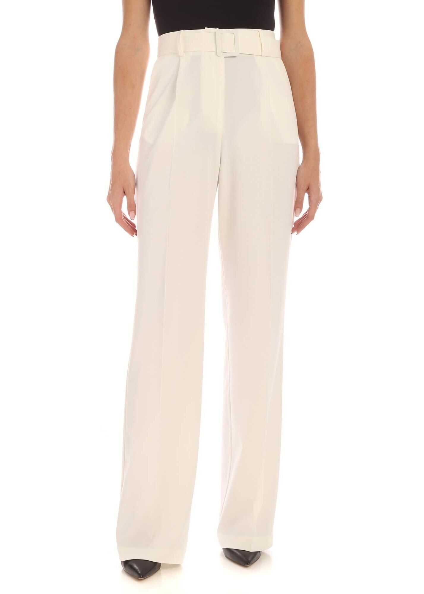Be Blumarine Belt Pants In Ivory Color White
