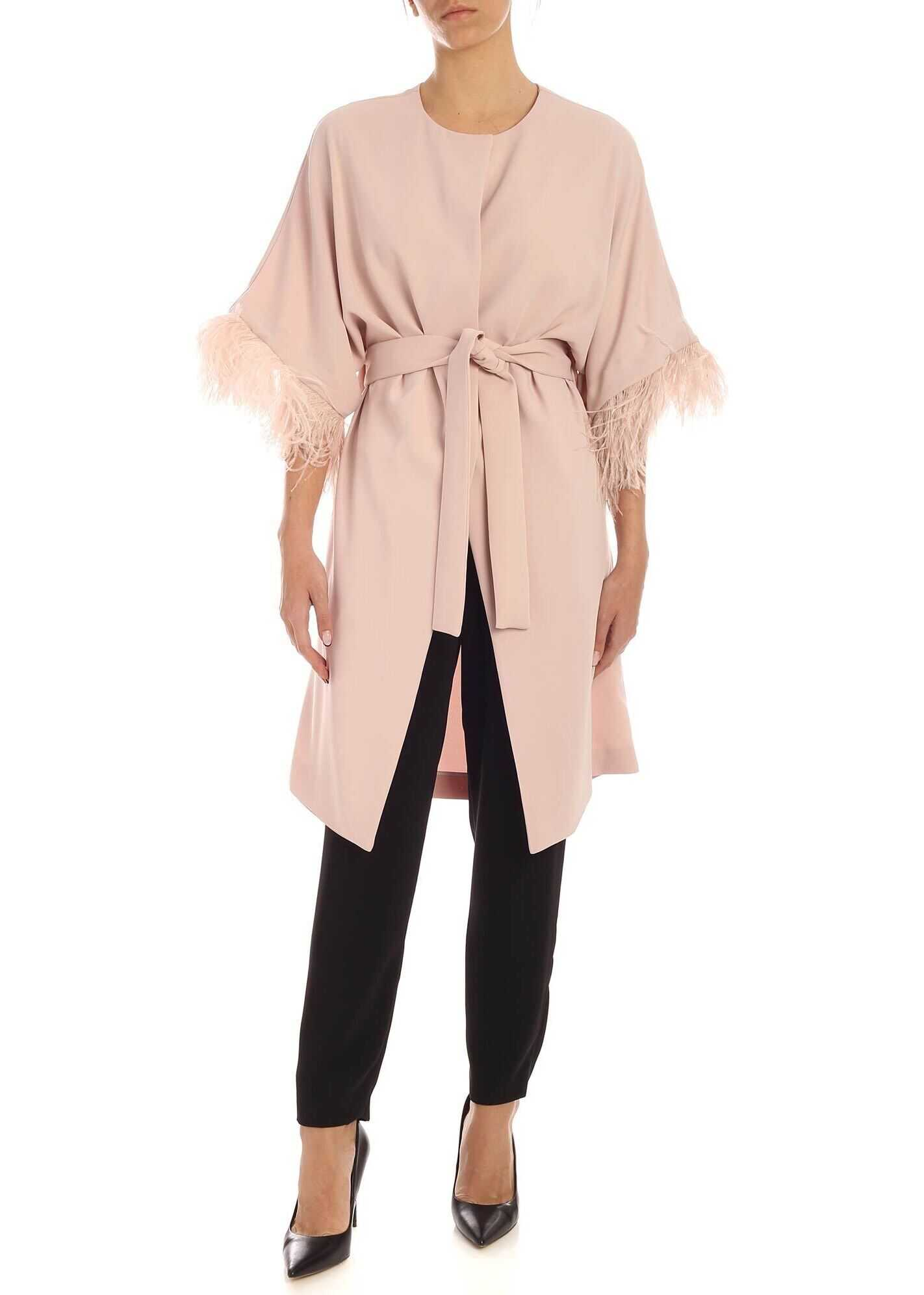 Ostrich Feathers Overcoat In Pink thumbnail