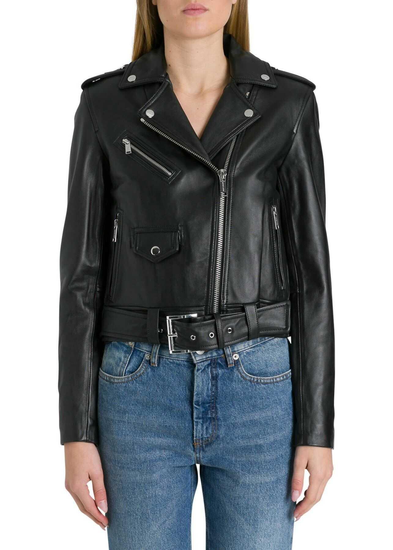 Michael Kors Leather Outerwear Jacket BLACK