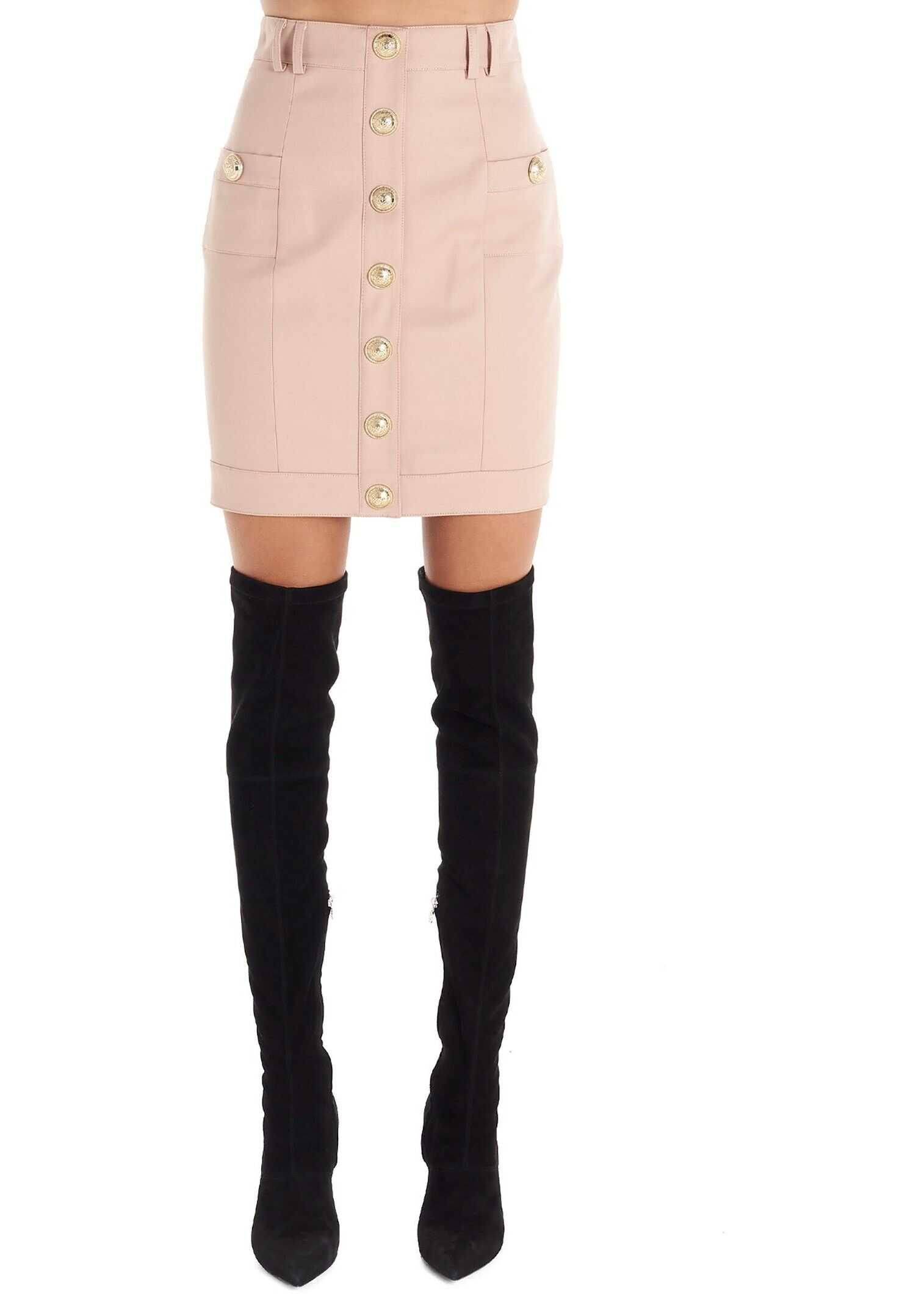 Balmain Wool Skirt PINK