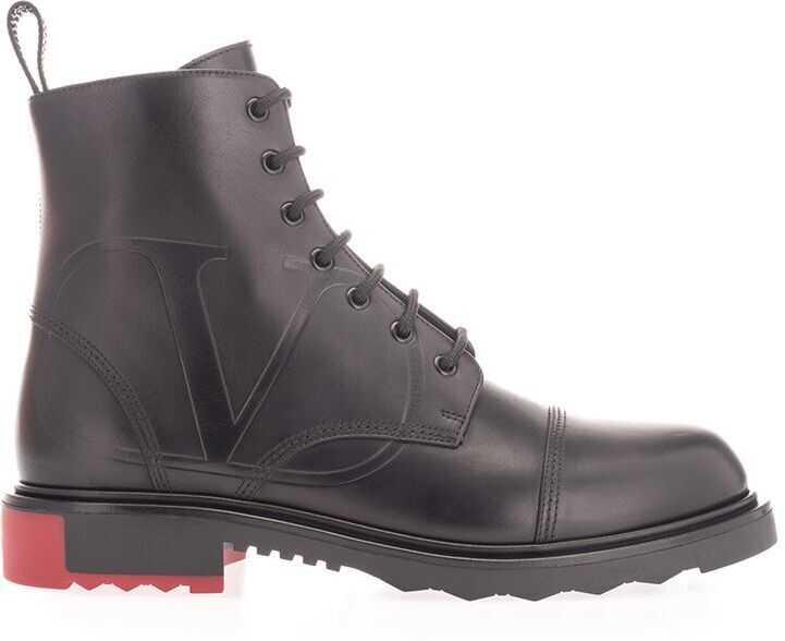 Valentino Garavani Leather Ankle Boots BLACK