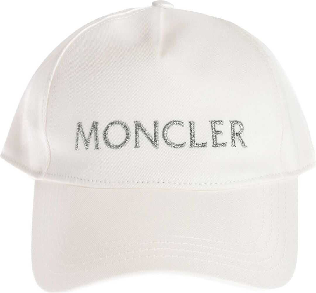 Moncler Baseball Cap In White With Silver Embroidery White