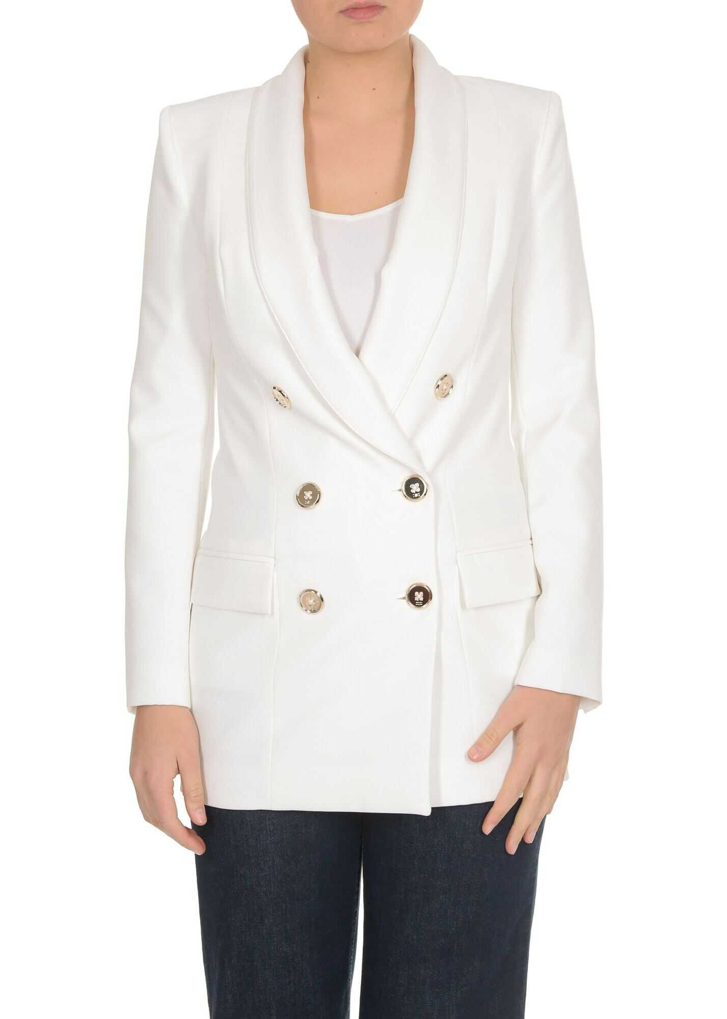 Elisabetta Franchi Double-Breasted Jacket In Ivory Color White