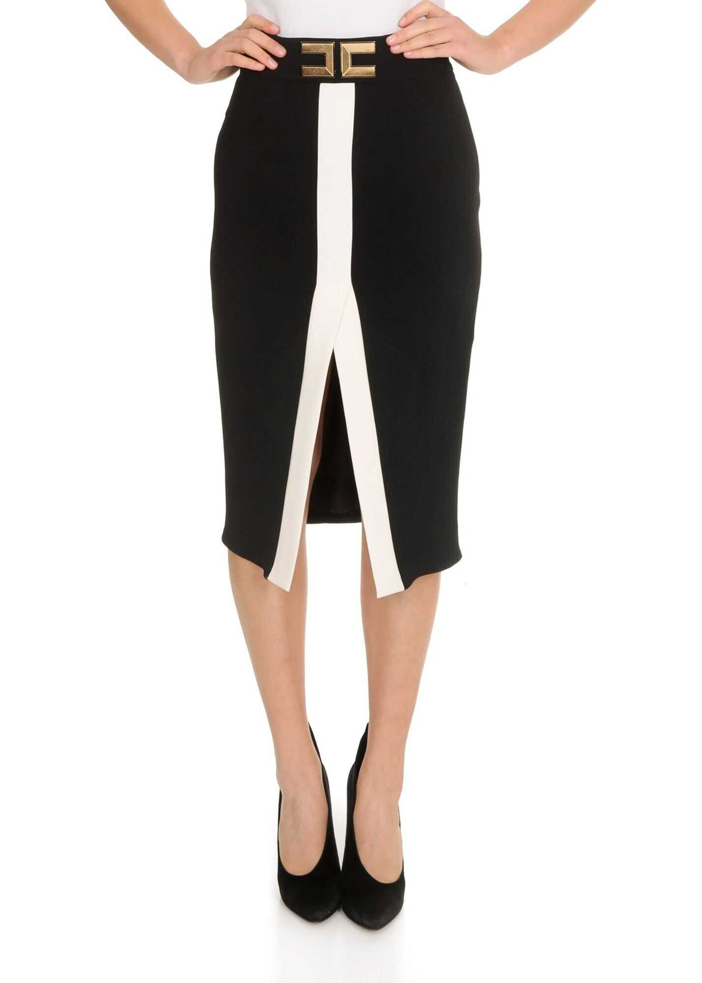 Elisabetta Franchi Longuette In Black And White With Logo Black