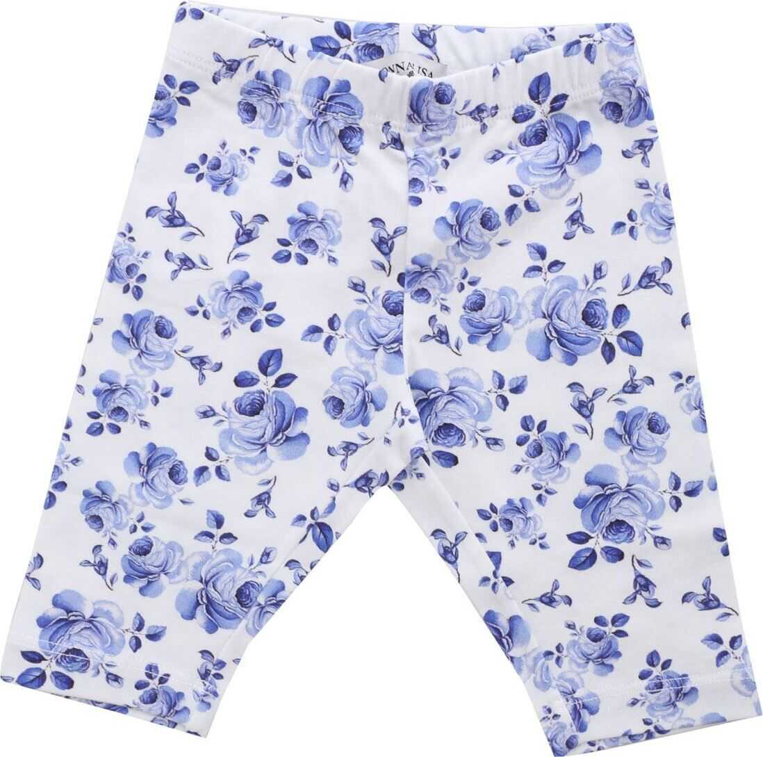 White Leggings With Blue Floral Print thumbnail