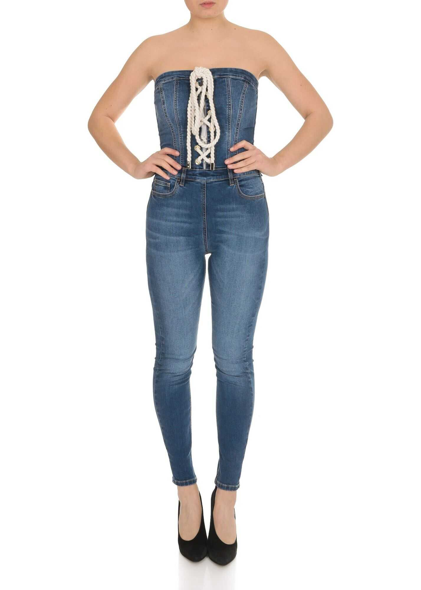 Skinny Jumpsuit In Denim Blue thumbnail
