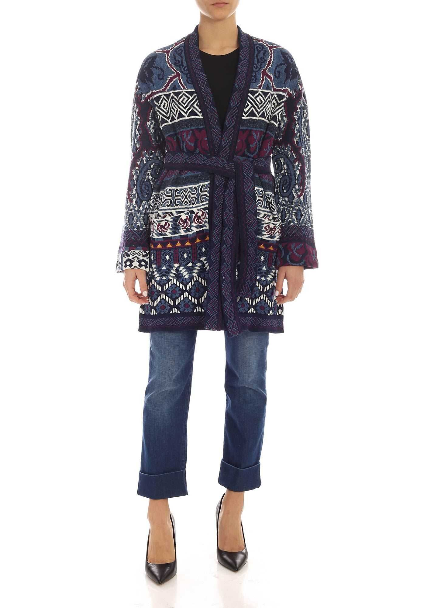 ETRO Cotton And Silk Cardigan In Shades Of Blue Blue