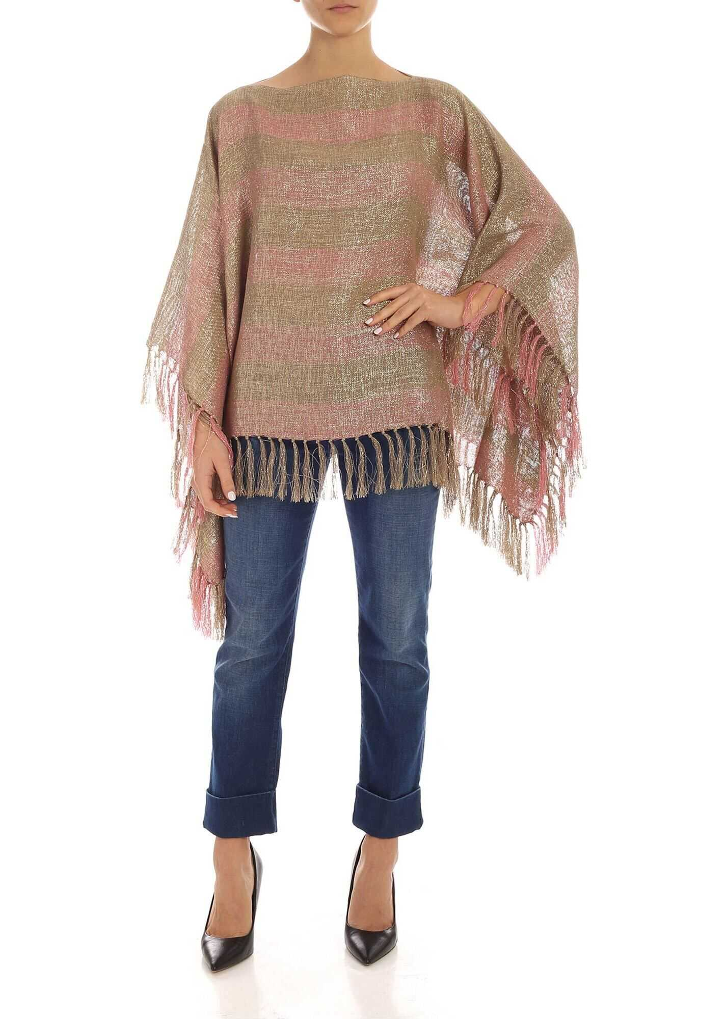 Striped Lamè Knit Poncho In Green And Pink thumbnail