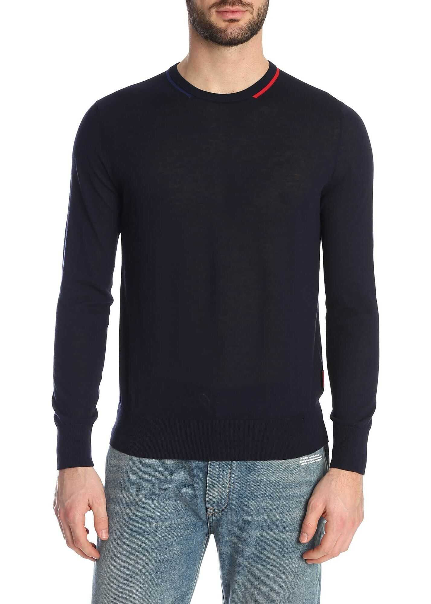 Moncler Sweater In Dark Blue With Inlay On The Neck Blue imagine