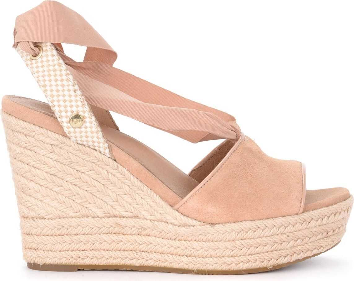 Shiloh Wedge Sandal In Blush Suede And Woven Jute thumbnail