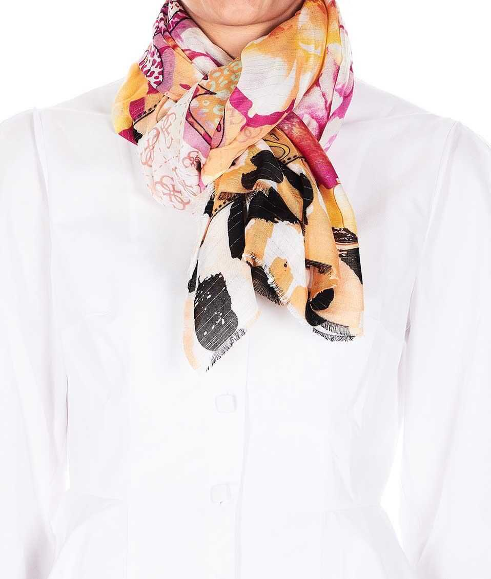 GUESS Lightweight scarf with print Pink