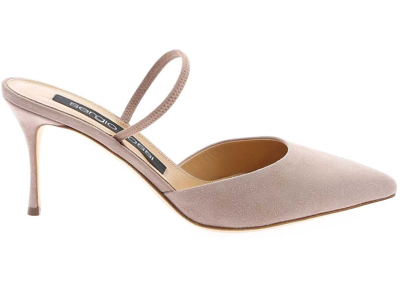 Suede Pointed Mules In Powder Pink Color thumbnail