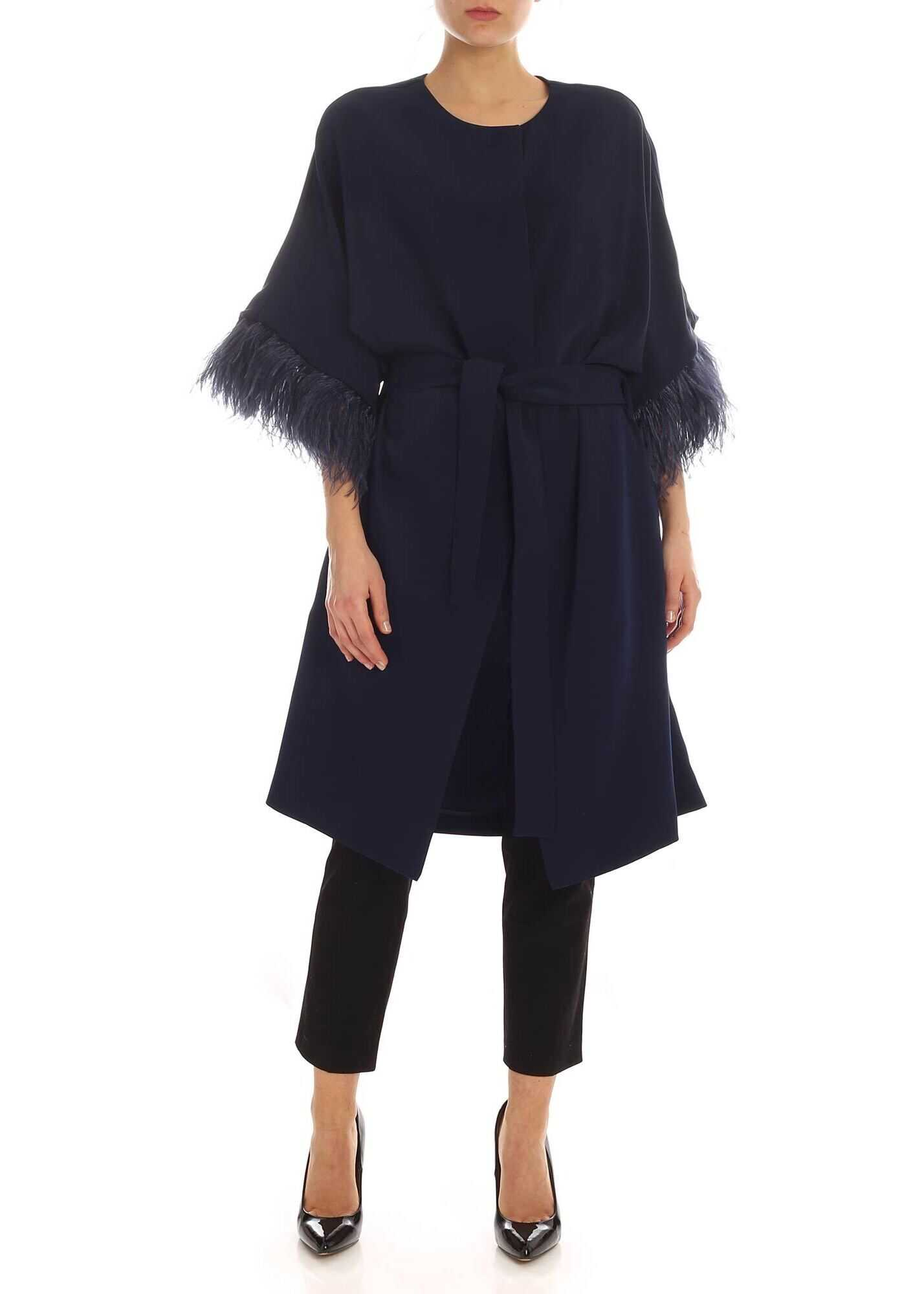Ostrich Feathers Cady Overcoat In Blue thumbnail