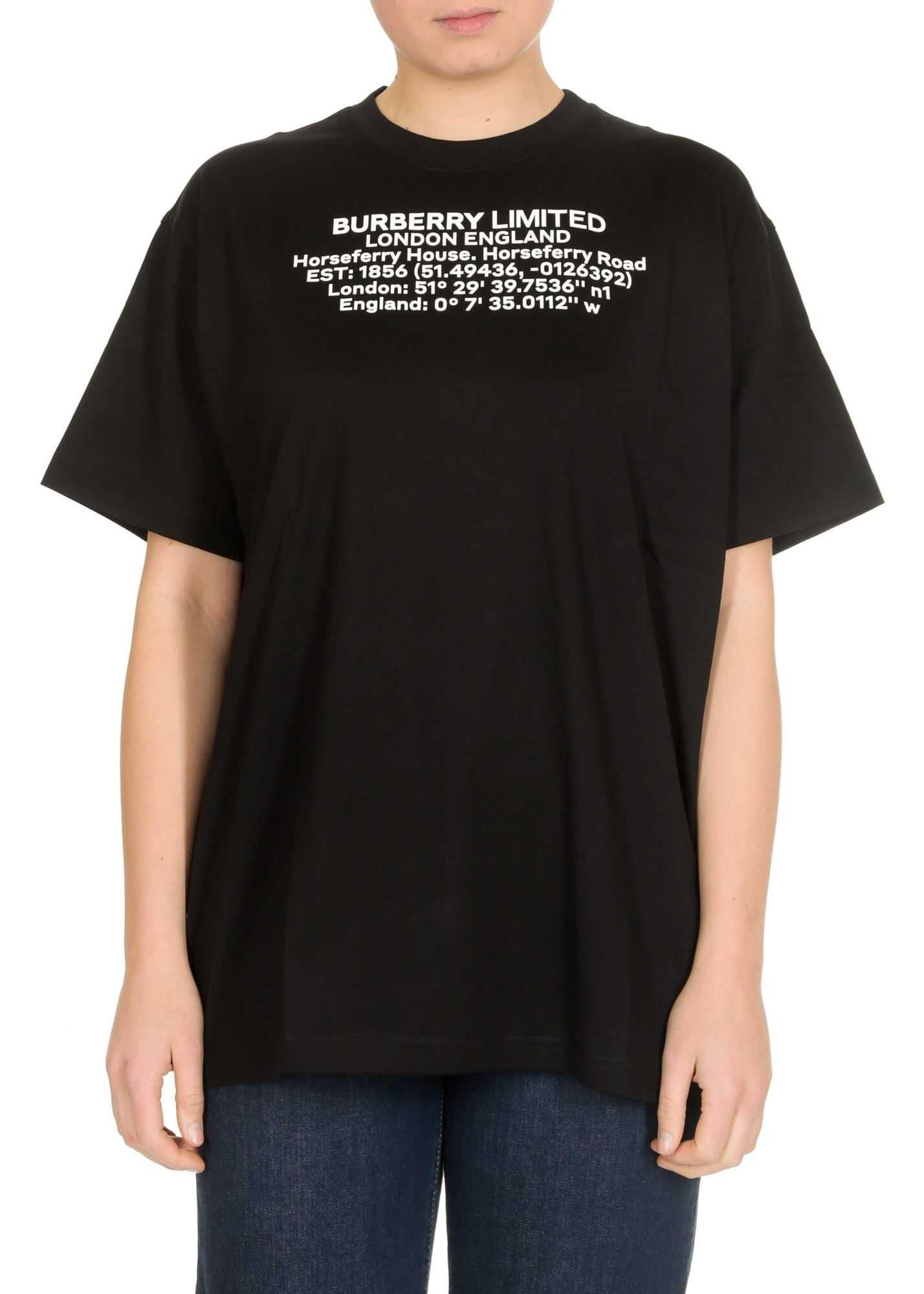 Burberry T-Shirt In Black With Geographic Coordinates Print Black
