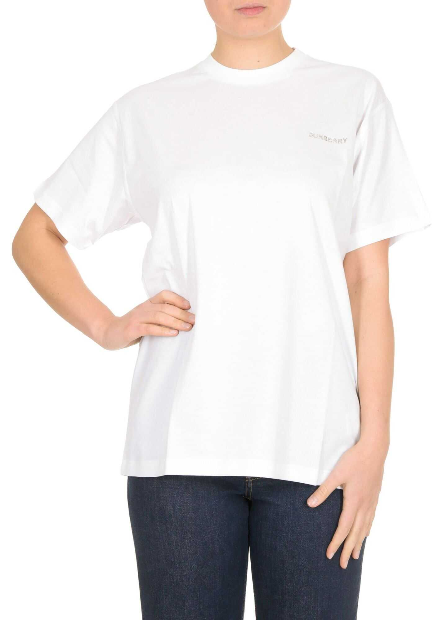 Burberry T-Shirt In White With Crystal Monogram Motif White