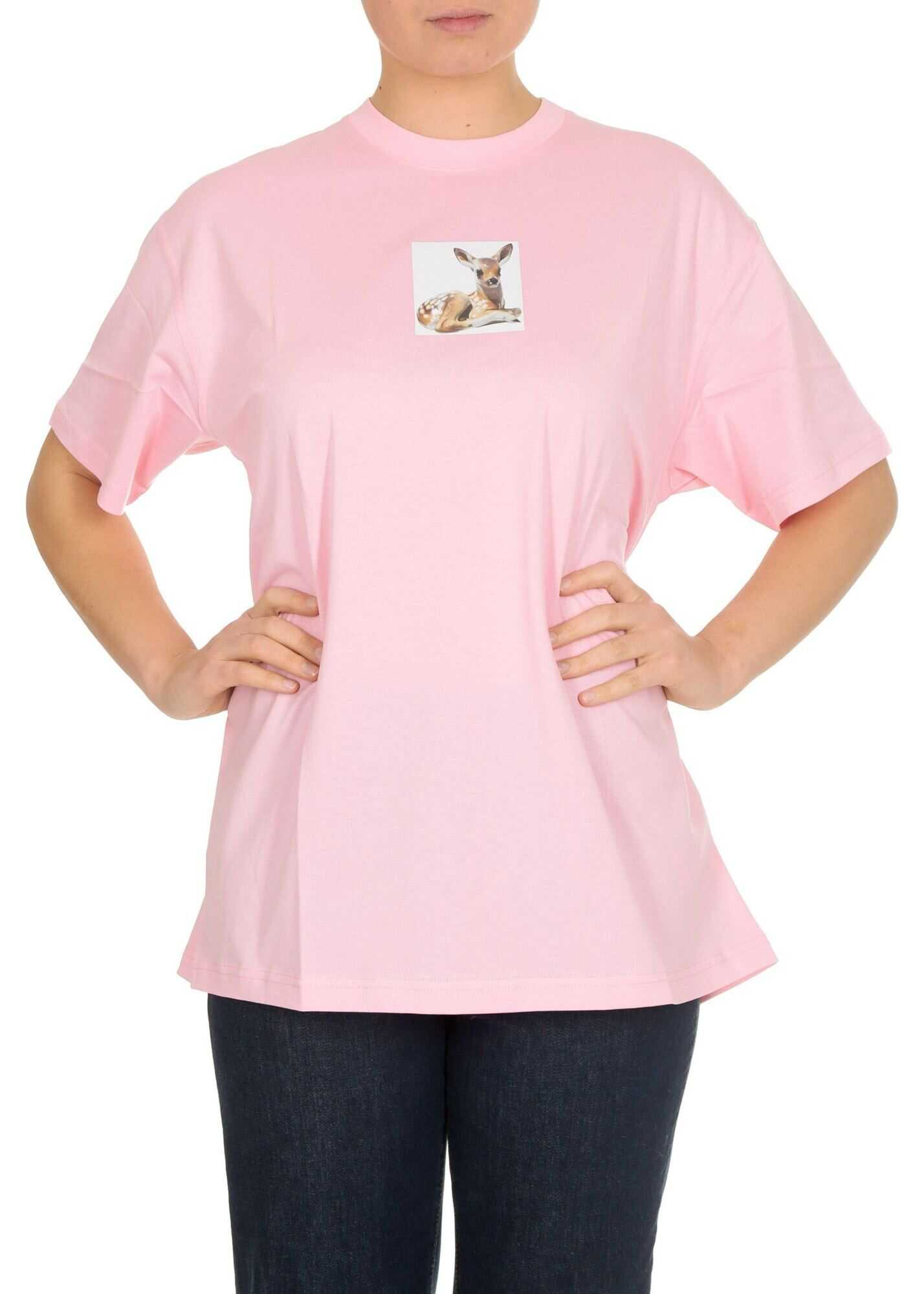 Burberry Deer T-Shirt In Candy Pink Pink