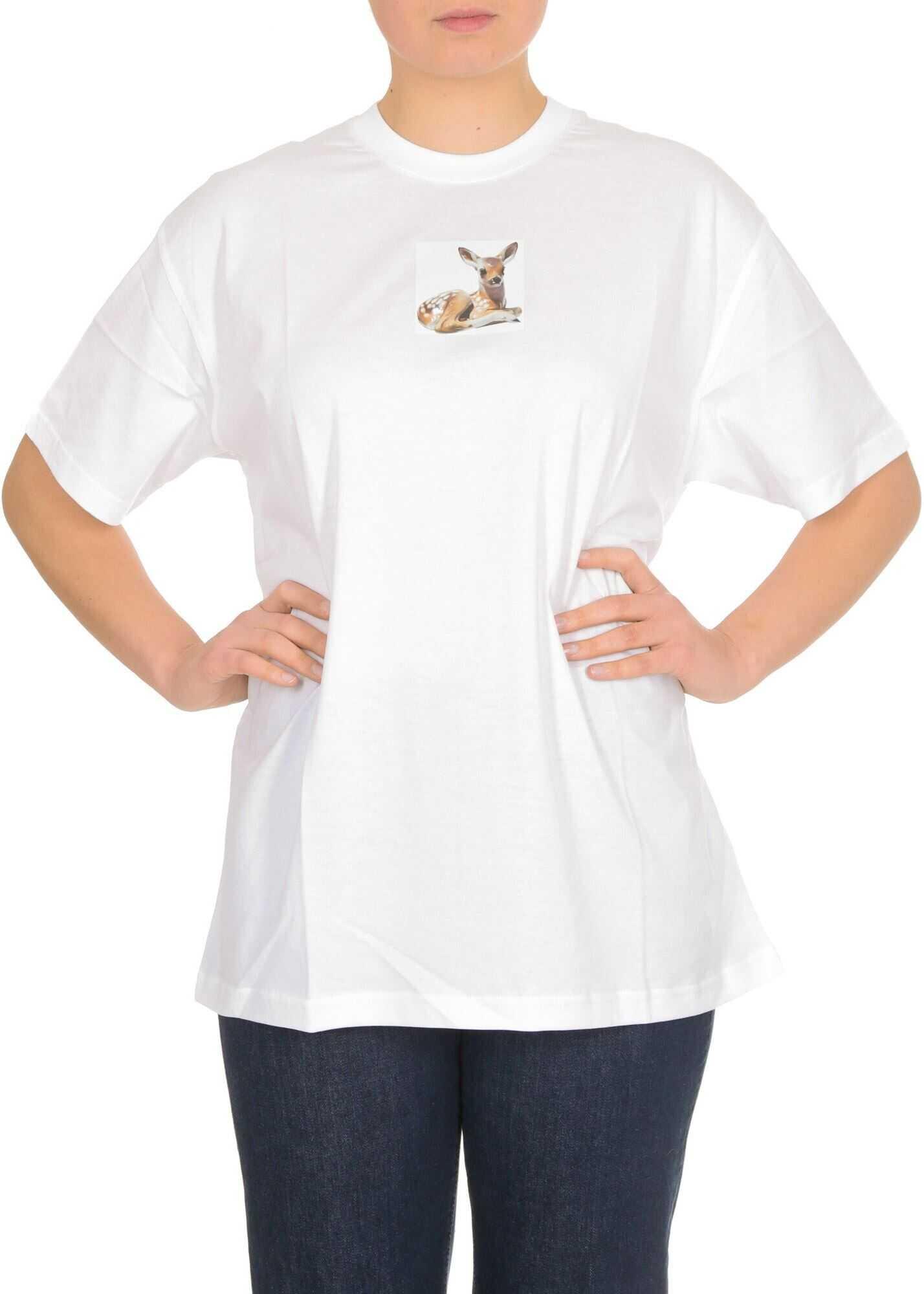 Burberry Deer T-Shirt In White White
