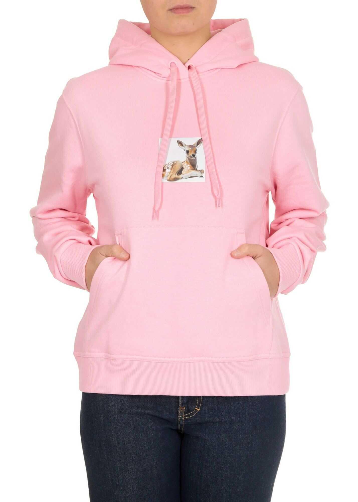 Burberry Deer Print Hoodie In Candy Pink Pink