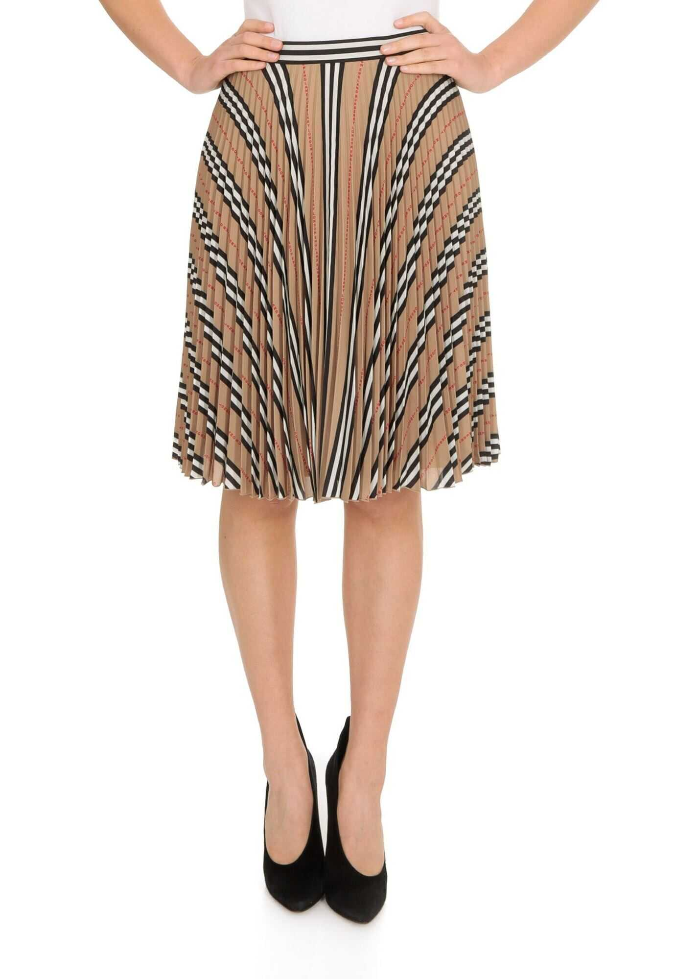 Striped Print And Logo Pleated Skirt In Beige thumbnail