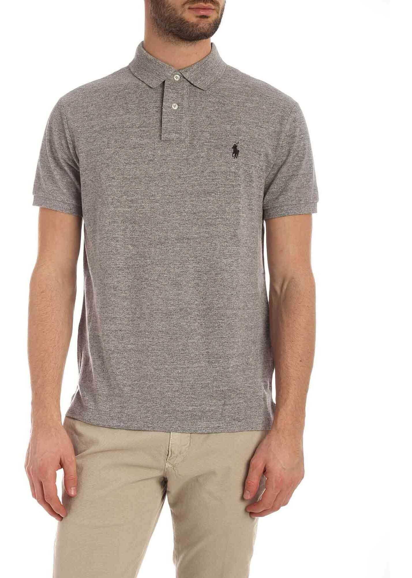 Ralph Lauren Black Logo Embroidery Polo Shirt In Melange Grey Grey imagine