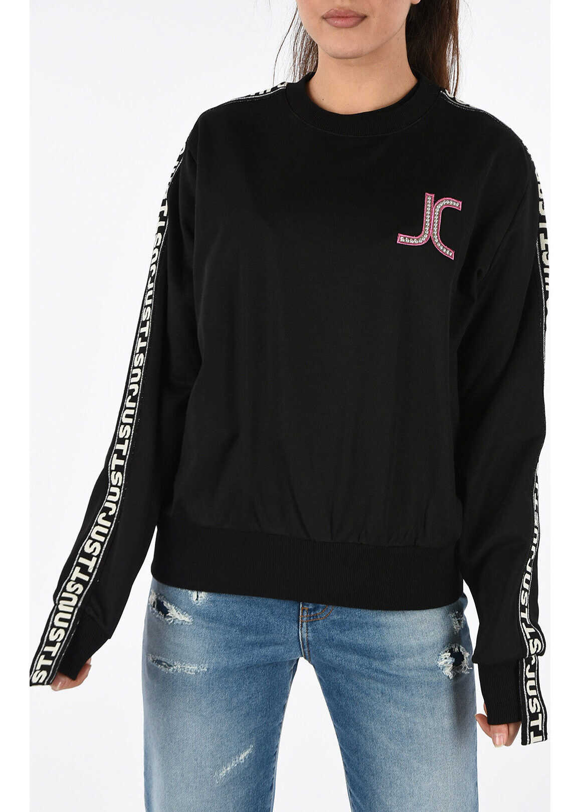 Just Cavalli Crewneck Logo Sweatshirt BLACK