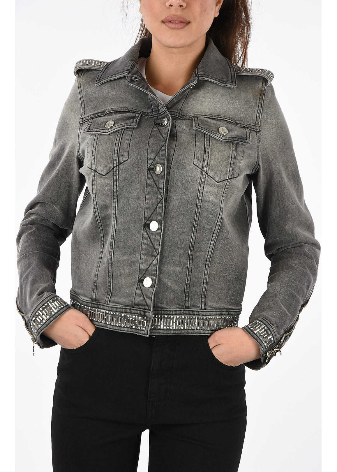 Just Cavalli Studded Jeans Jacket GRAY