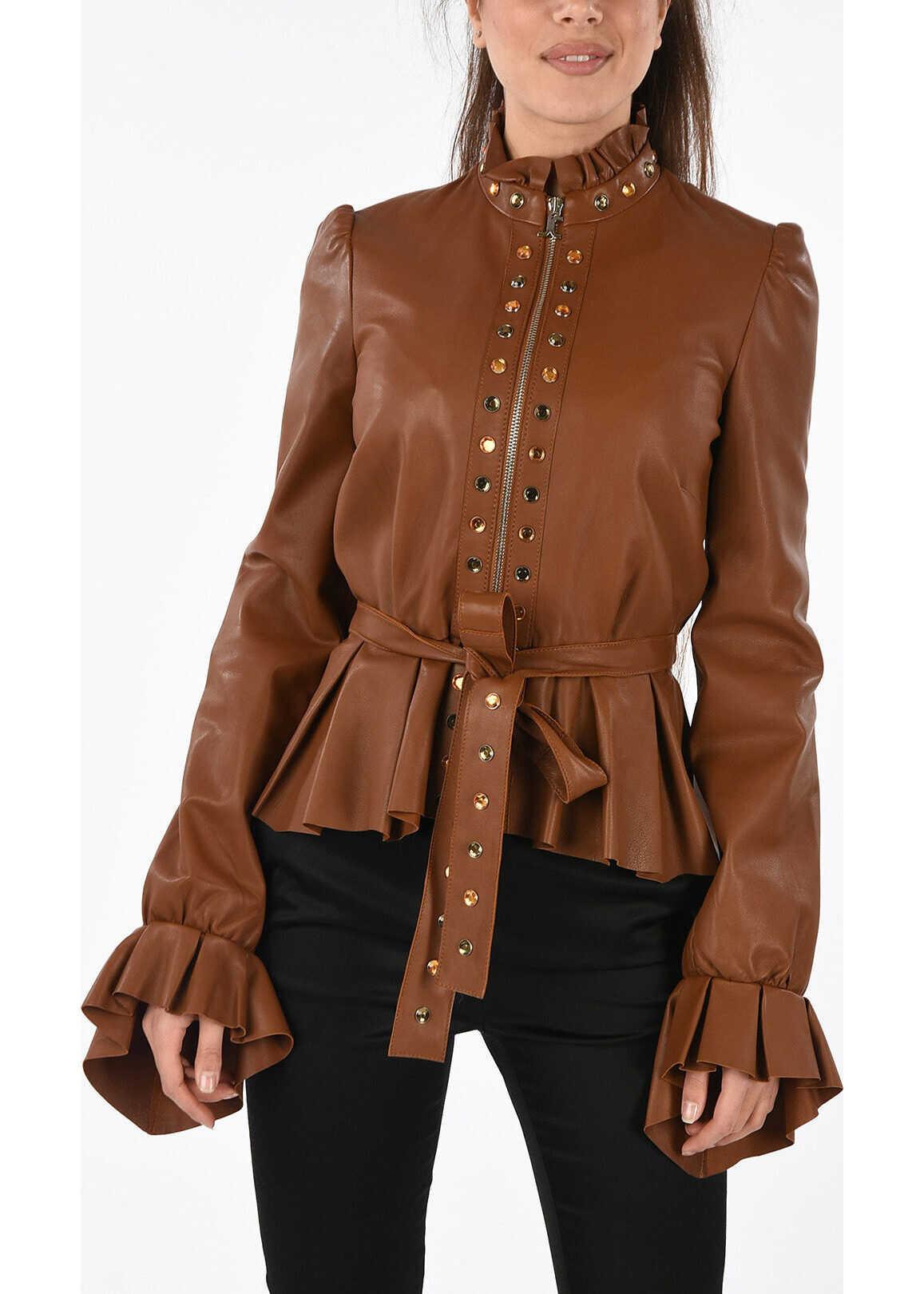 Just Cavalli Embellished Leather Jacket BROWN