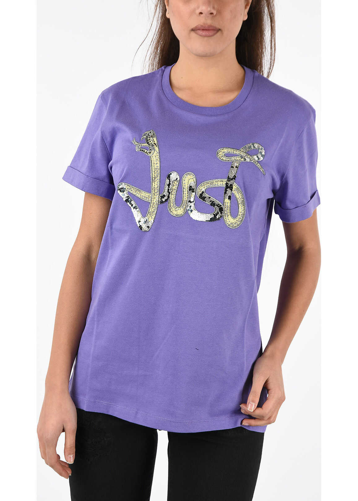 Just Cavalli Sequined and Studded T-shirt VIOLET