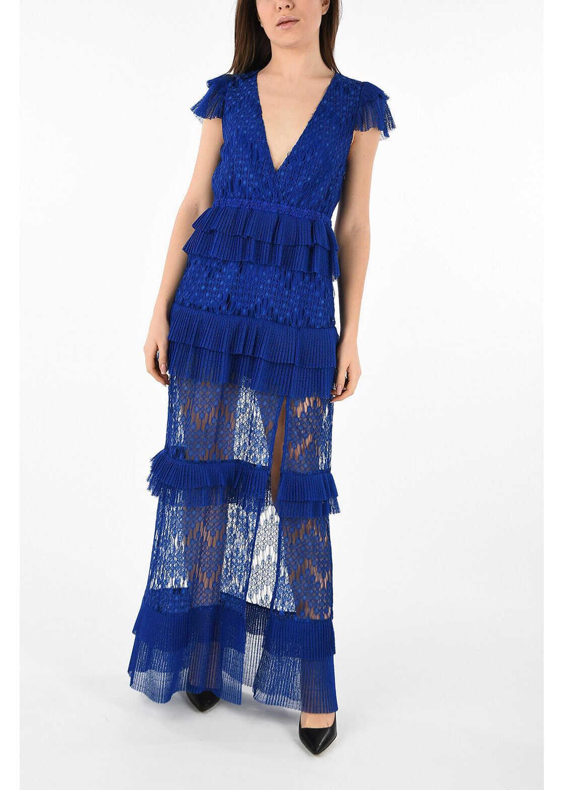 Just Cavalli Frill V-Neck Dress BLUE