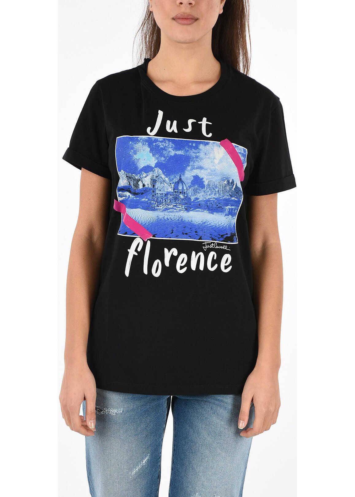 Just Cavalli Printed Crewneck T-shirt BLACK