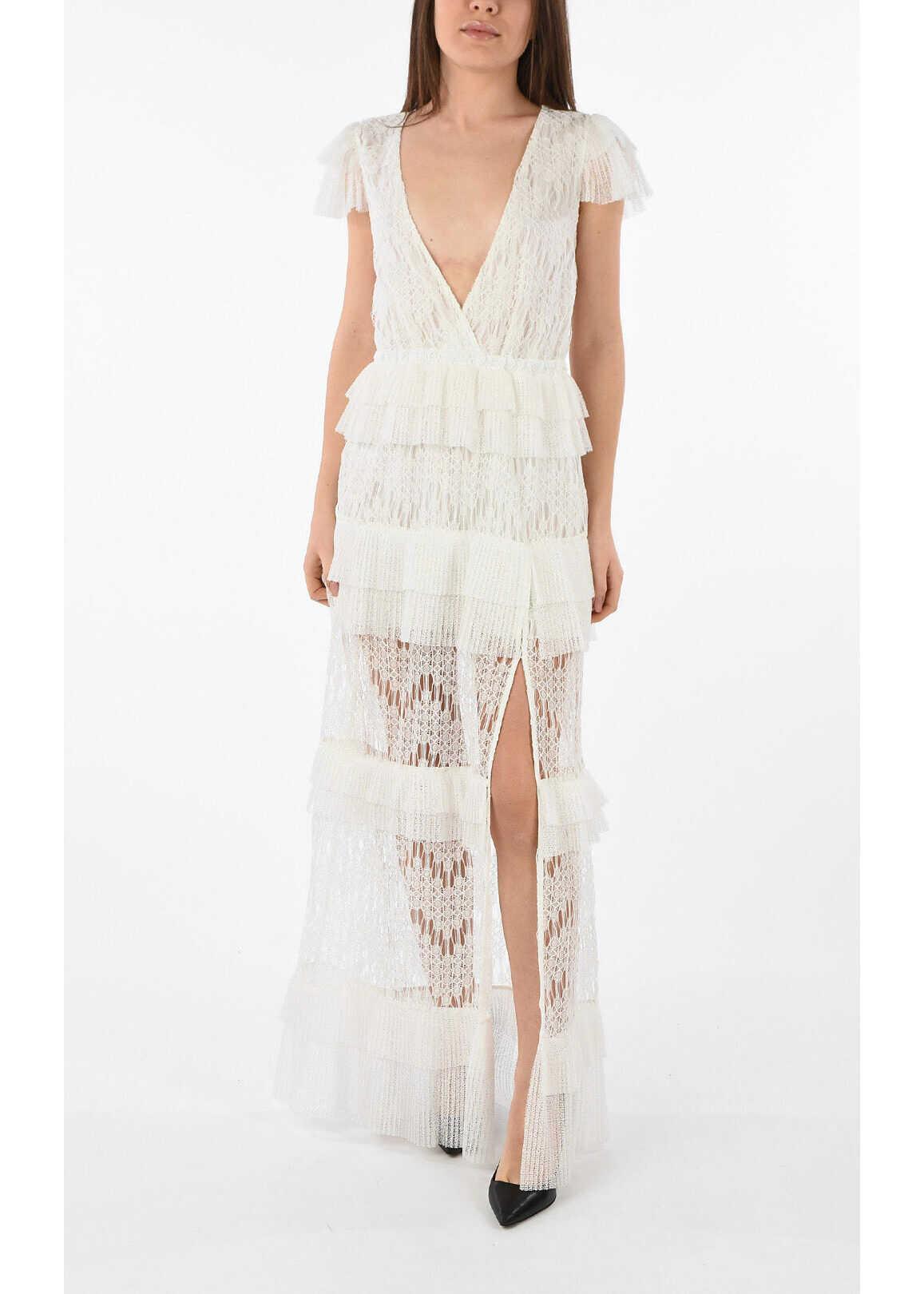 Just Cavalli Frill V-Neck Dress WHITE