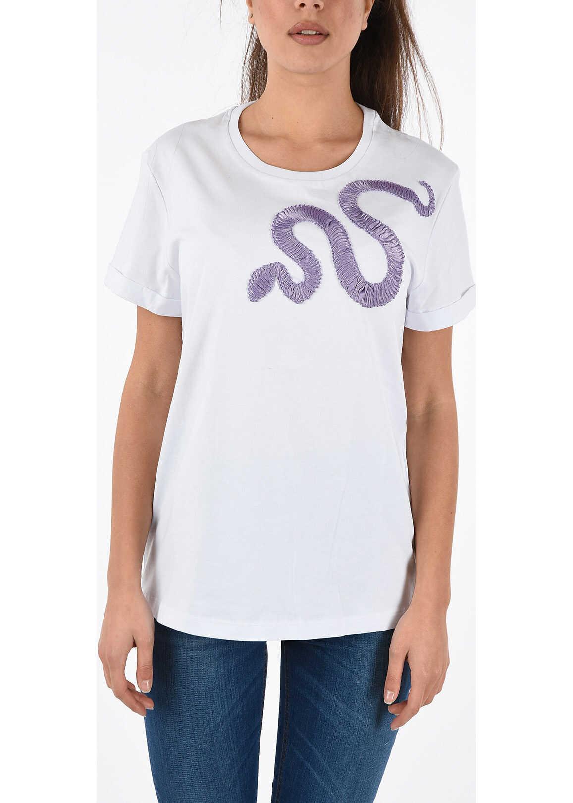 Just Cavalli Embroidered Crewneck T-shirt WHITE