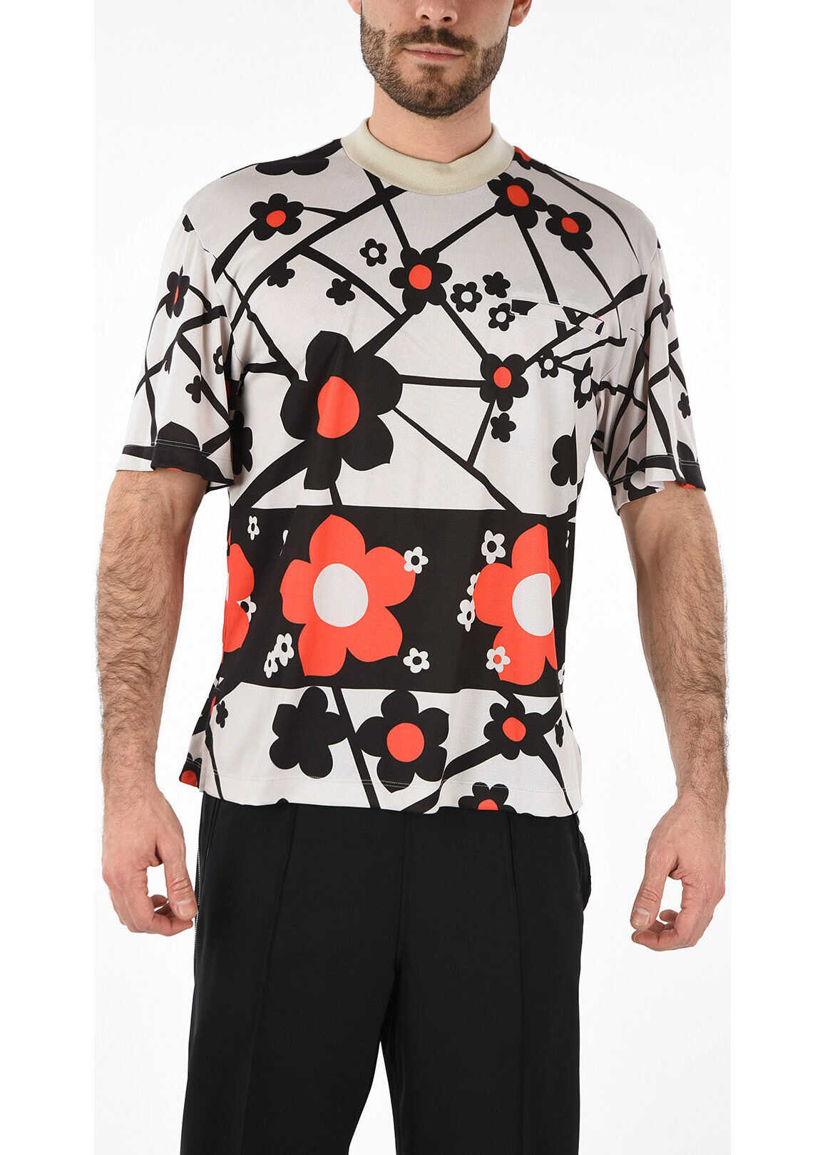 MM10 Nylon T-Shirt with Floral Print