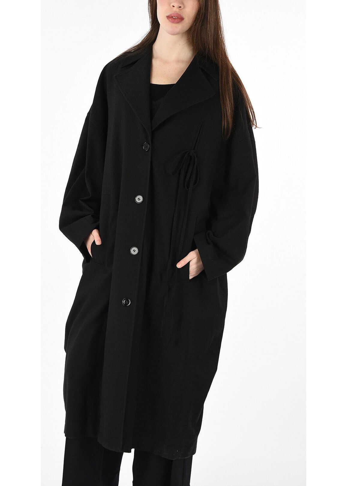 Maison Margiela MM6 Cotton and Virgin Wool Single Breasted Coat BLACK