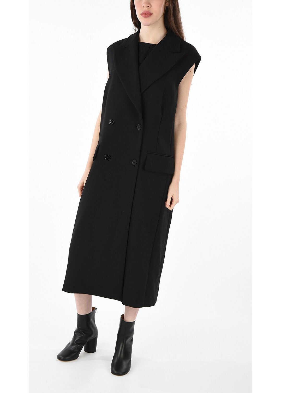 Maison Margiela MM6 Double Breasted Coat BLACK